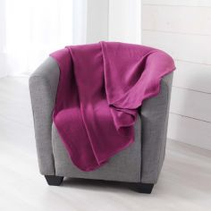 Pilou Plain Fleece Throw - Plum Purple