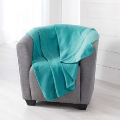 Pilou Plain Fleece Throw - Lagoon Blue