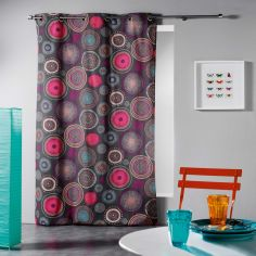 Solina Geometric Circles Ready Made Single Eyelet Curtain Panel  - Charcoal Grey Multi