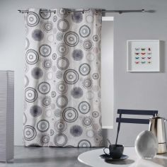 Solina Geometric Circles Ready Made Single Eyelet Curtain Panel  - Natural Multi