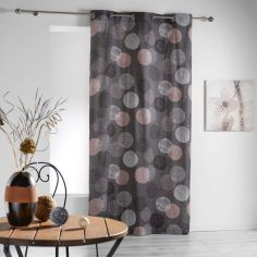 Stalis Geometric Circles Ready Made Single Eyelet Curtain Panel  - Charcoal Grey
