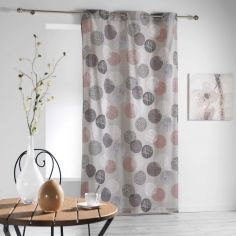 Stalis Geometric Circles Ready Made Single Eyelet Curtain Panel  - Beige