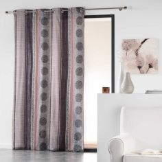 Ulysses Geometric Circles And Stripes Ready Made Single Eyelet Curtain Panel  - Natural
