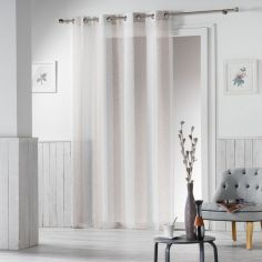 Alia Striped Eyelet Voile Curtain Panel - Beige