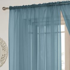 Lucy Slot Top Voile Curtain Panel - Teal Blue