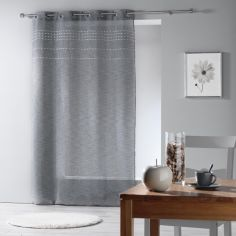 Andalia Pom Pom Applique Woven Eyelet Voile Curtain Panel - Charcoal Grey