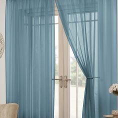 Lucy Eyelet Ring Top Pair of Voile Curtains - Teal Blue