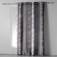 Rainbow Stripes Ready Made Single Eyelet Curtain Panel  - Charcoal Grey