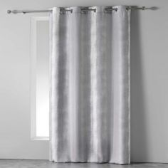 Rainbow Stripes Ready Made Single Eyelet Curtain Panel  - Silver Grey
