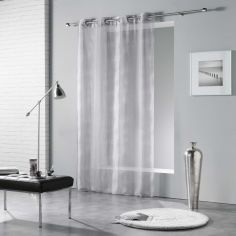 Rainbow Stripes Eyelet Voile Curtain Panel - Silver Grey