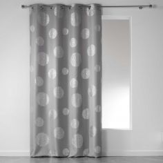 Artifice Silver Circles Ready Made Single Eyelet Curtain Panel  - Silver Grey