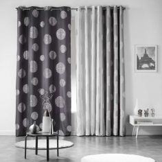 Artifice Silver Circles Ready Made Single Eyelet Curtain Panel  - Charcoal Grey