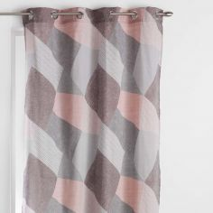 Puzzle Geometric Ready Made Single Eyelet Curtain Panel  - Pastel Orange
