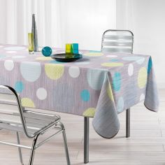 Atolls Polka Dots Linen Look Tablecloth - Grey & Green