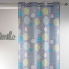 Atolls Polka Dots Double Sided Ready Made Single Eyelet Curtain Panel  - Grey & Green