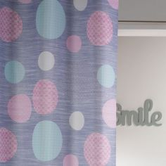 Atolls Polka Dots Double Sided Ready Made Single Eyelet Curtain Panel  - Grey & Pink