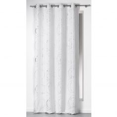 Silver Swirls Ready Made Single Eyelet Curtain Panel  - White