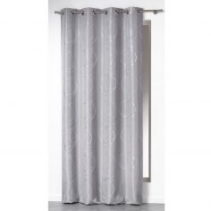 Silver Swirls Ready Made Single Eyelet Curtain Panel  - Silver Grey