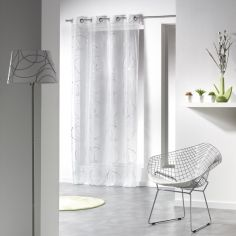 Silver Swirls Eyelet Voile Curtain Panel - White