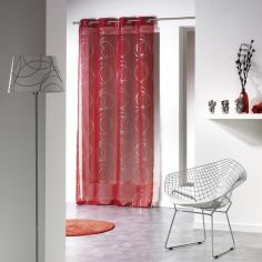 Silver Swirls Eyelet Voile Curtain Panel - Red
