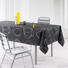 Silver Swirls Linen Look Tablecloth - Charcoal Grey