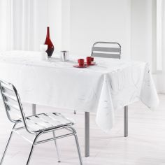 Silver Swirls Linen Look Tablecloth - White