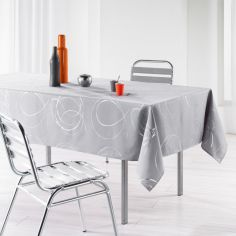 Silver Swirls Linen Look Tablecloth - Silver Grey