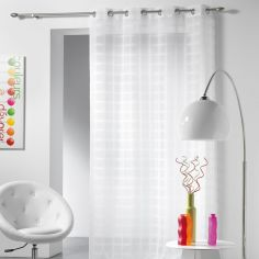 Candide Striped Eyelet Voile Curtain Panel - White