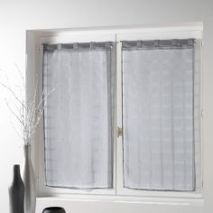 Candide Pair Of Striped Voile Blinds With  Tab Top - Silver Grey