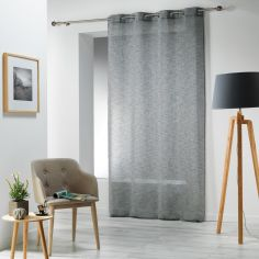 Carlin Woven Effect Eyelet Voile Curtain Panel - Charcoal Grey
