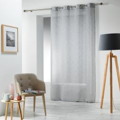 Carlin Woven Effect Eyelet Voile Curtain Panel - Silver Grey