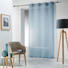 Carlin Woven Effect Eyelet Voile Curtain Panel - Blue