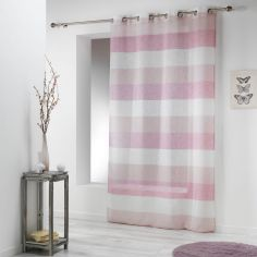 Carlina Woven Effect Striped Eyelet Voile Curtain Panel - Pink