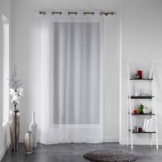 Cassie Applique Eyelet Voile Curtain Panel - White