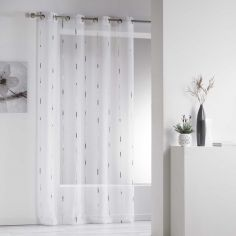 Chenilla Yarn Applique Eyelet Voile Curtain Panel - Grey