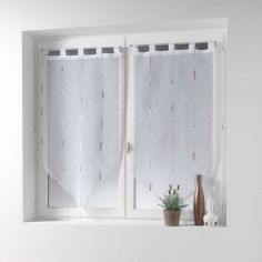 Chenilla Pair Of Yarn Applique Tassel Voile Blinds With  Tab Top - Beige