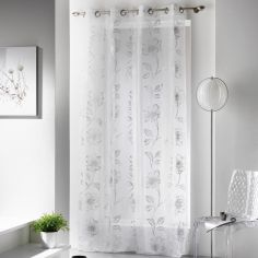 Celia Silver Flowers Eyelet Voile Curtain Panel - White