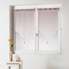 Cristally Pair Of Striped Silver Thread Tassel Voile Blinds With  Tab Top - Blush Pink