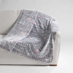 Cylia Geometric Thermal Fleece Blanket Throw - Grey