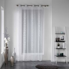 Dalya Floral Applique Eyelet Voile Curtain Panel - White