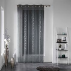 Dalya Floral Applique Eyelet Voile Curtain Panel - Charcoal Grey
