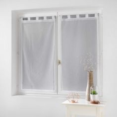 Dalya Pair Of Floral Applique Voile Blinds With Tab Top - White