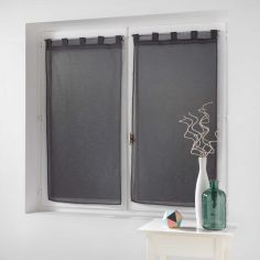 Dalya Pair Of Floral Applique Voile Blinds With Tab Top - Charcoal Grey