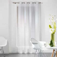 Dandy Woven Look Eyelet Voile Curtain Panel - White
