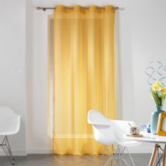 Dandy Woven Look Eyelet Voile Curtain Panel - Yellow