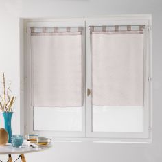 Dandy Pair Of  Woven Look Voile Blinds With Tab Top - Beige