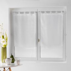Dandy Pair Of  Woven Look Voile Blinds With Tab Top - White