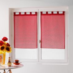 Dandy Pair Of  Woven Look Voile Blinds With Tab Top - Red