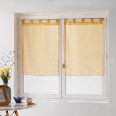 Dandy Pair Of  Woven Look Voile Blinds With Tab Top - Yellow