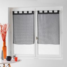 Dandy Pair Of  Woven Look Voile Blinds With Tab Top - Charcoal Grey